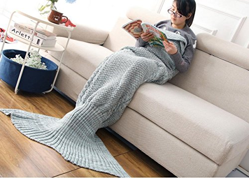 CASOFU Mermaid Tail Blanket, Adult, Thick, Green/Gray