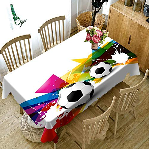 HXZB Nappe de Table, Tapis de Nappe d'impression 3D Anti-poussière pour Le Football, écologique, sans goût, Facile à essuyer, Rectangle voitureré Rond,216cm216cm