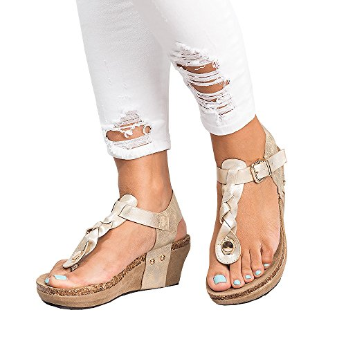 Sandals Ankle Buckle T Strap Platform Casual Summer Heeled Shoes (Thong Platform Shoes)