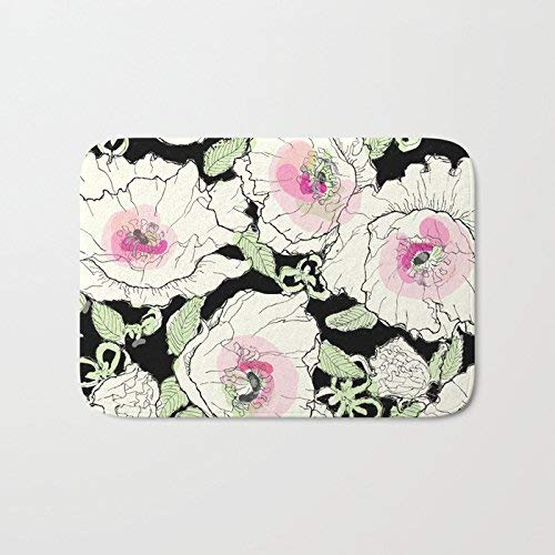 75 Creme - CHUFZSD Watercolor Poppies Creme 45 X 75 cm Bath Mat Non Skid Indoor/Outdoor/Front Entrance Doormats Bathroom Kitchen Decor Rug Mat