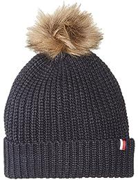 Women's Rib Cuff Hat with Faux Fur Pom