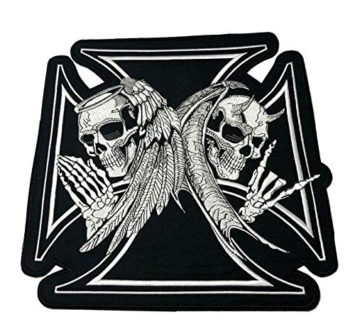Iron Cross Embroidered Large Back Patch Angel Devil Skull Motorcycle Biker Club Series Jacket Vests Ghost Hog Outlaw Rocker Jumbo Iron or Sew-on Emblem Badge Appliques Application Fabric Patches