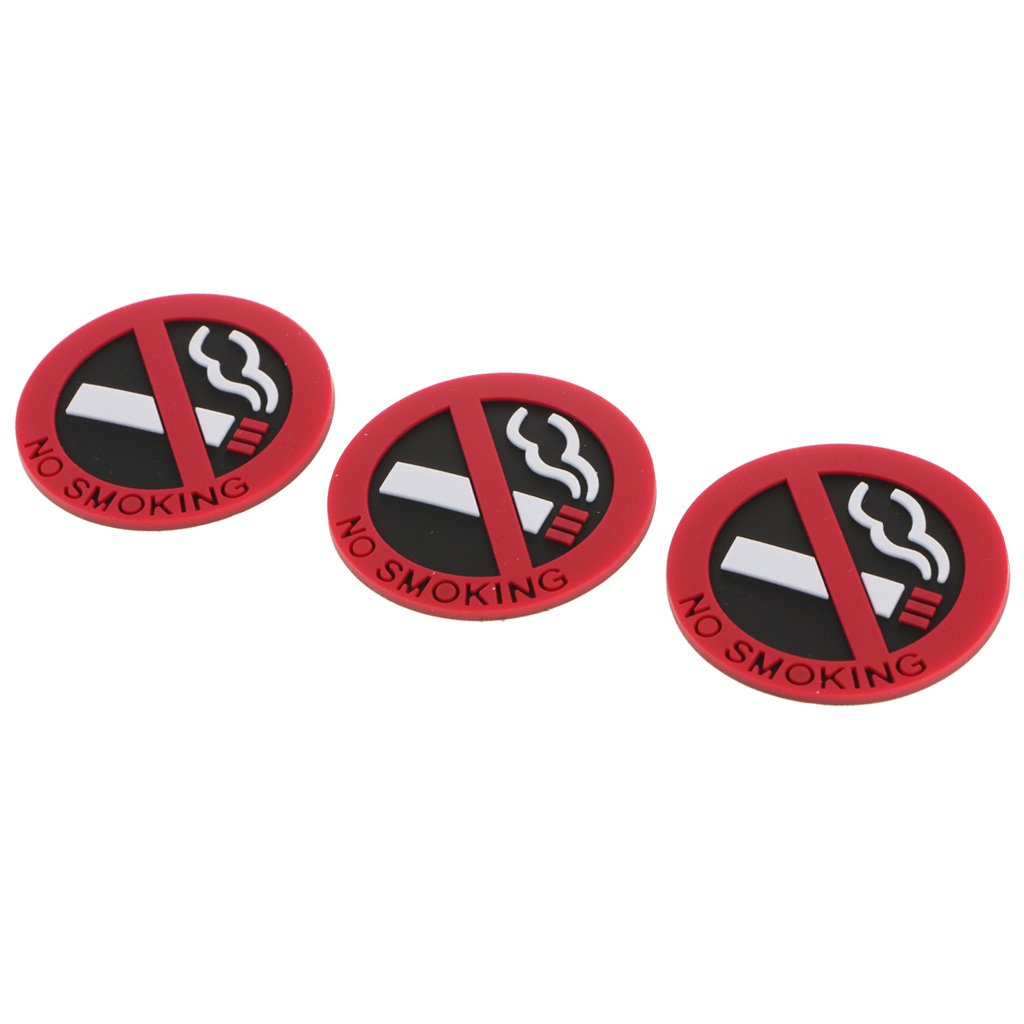 Baoblaze 3 Pieces No Smoking Sign Stickers Decal for Car Motorcycle Truck Adhesive