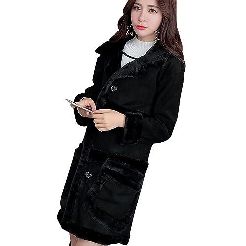 YuanDian Mujer Espesar Cálido Abrigo Fur Collar Piel Sintética Manga Larga Ajustado Largo Chaqueta I...