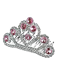 SODIAL Hair Jewelry Little Princess Pink Crystal Hair Girls' Tiara Little Hair Combs Crown