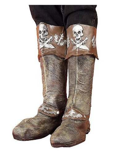 - Forum Novelties Deluxe Buccaneer Pirate Boots Brown/Silver