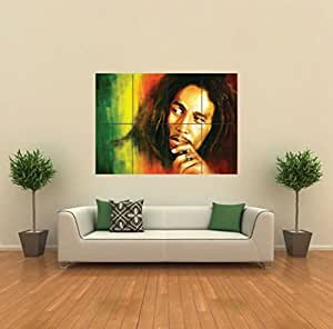 BOB MARLEY IN RASTA COLORS GIANT WALL ART POSTER G430
