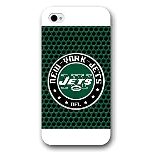 Onelee Customized NFL Series Case for iPhone 4 4S, NFL Team New York Jets Logo iPhone 4 4S Case, Only Fit for Apple iPhone 4 4S (White Frosted Shell)