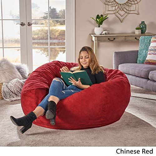 Madison Faux Suede 5-Foot Lounge Beanbag Chair Christopher Knight Home (Red)