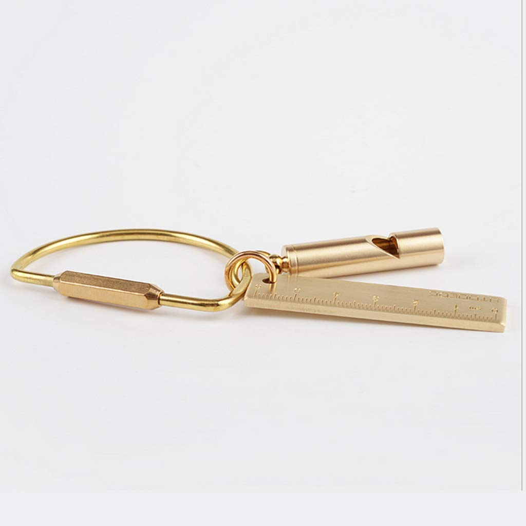 Solid Brass Whistle DIY Gear Key Ring Chain Charm Pendants Craft Accessories