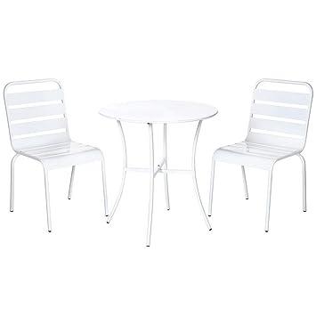 Conjunto de Mesa y sillas para terraza Blanco de Acero ...