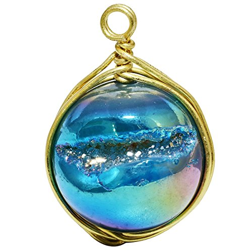 SUNYIK Lake Blue Aura Titanium Coated Round Ball Agate Quartz Druzy Geode Pendant Necklace