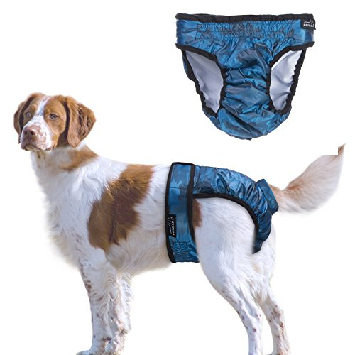 PETBABA Dog Diaper Female, Soft Padded Liner Nappy, Washable Reusable Pant, Cover Up Panty Suitable Women Girl in Heat Period Season in Blue - L in Blue