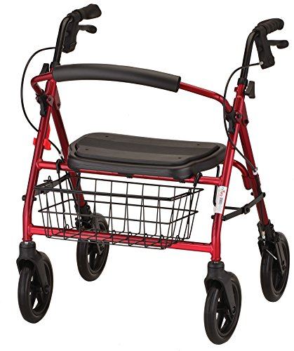 NOVA Mini Mack Heavy Duty Rollator Walker 400 lb Weight Capacity, Red