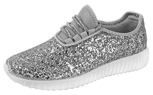 Forever Link Women's REMY-18 Glitter Fashion Sneakers Silver 8