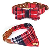 Fashion&cool Dog Collar for Small Cats Dogs, 2 Pack Soft & Comfortable Design Plaid Adjustable PU Leather pet Collars Bow Tie +Triangle Towel Bandana Style for Puppy Dogs Cats Kittens