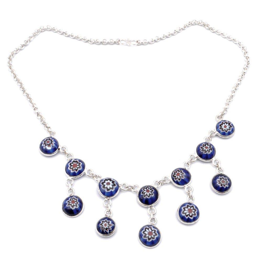 Handmade Jewelry Outstanding Mosiac Jasper Sterling Silver Overlay Necklace 17-18