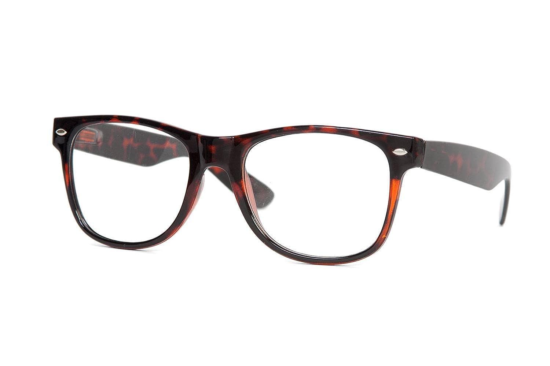 f2c4affd52 Amazon.com  Standard Retro Clear Lens Nerd Geek Assorted Color Horn Rimmed  Glasses (Tortoise Shell)  Shoes