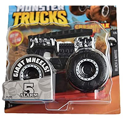 Hot Wheels Monster Trucks 1:64 Scale 5 Alarm 17/75 Crushable car, Black/White: Toys & Games