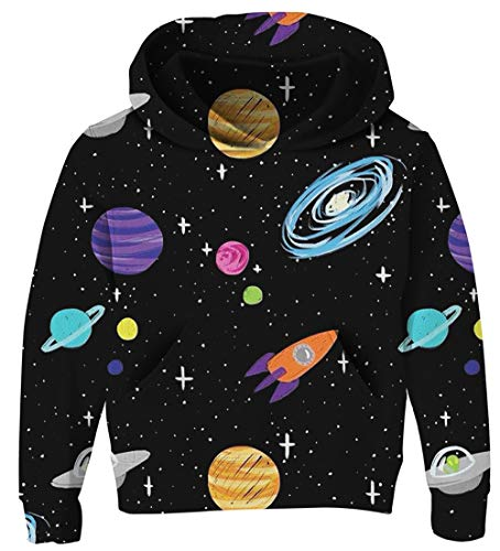 UNICOMIDEA Kids Hoodies Long-Sleeves Pullover Tops Novelty Daily Wear Drawstring Pullover with Spaceship 3D Pattern Size XL