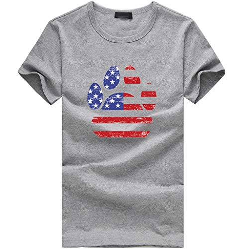 Sunhusing Ladies Independence Day Star Stripe Flag Pattern Dog Claw Shape Printed Short Sleeve T-Shirt Gray