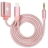 Aux and Charger Cable, XIIVIO Audio Cable 2 in 1 Nylon Braided 3.5mm Headphone Jack Adapter and Extend Female Charger Cord Compatible with iPhone X/Xs / Max / 8/7 to Car Stereo-Rose Gold