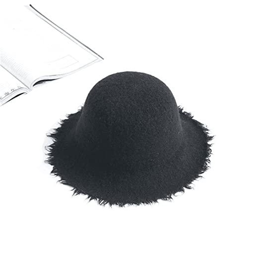 2ce5b70c402 Women s Fedora Hat Wide Brim Warm Wool Floppy Hat Felt Hat with Tassels  (black)