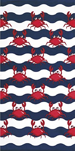 Multi Red Crabs Velour 30x60 Beach/Bath Towel by 1LAP2GO Towel Fashion