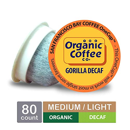 The Organic Coffee Co. OneCup, Gorilla DECAF, Single Serve Coffee K-Cup Pods (80 Count) Keurig Compatible, Swiss Water Process- Decafeinated, USDA Organic