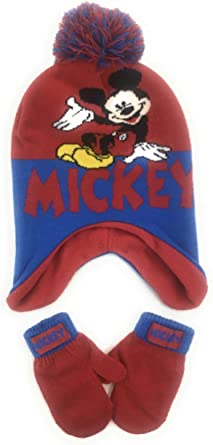 Toddler Boys Age 2-4 Disney Mickey Clubhouse Hat and Mittens Cold Weather Set