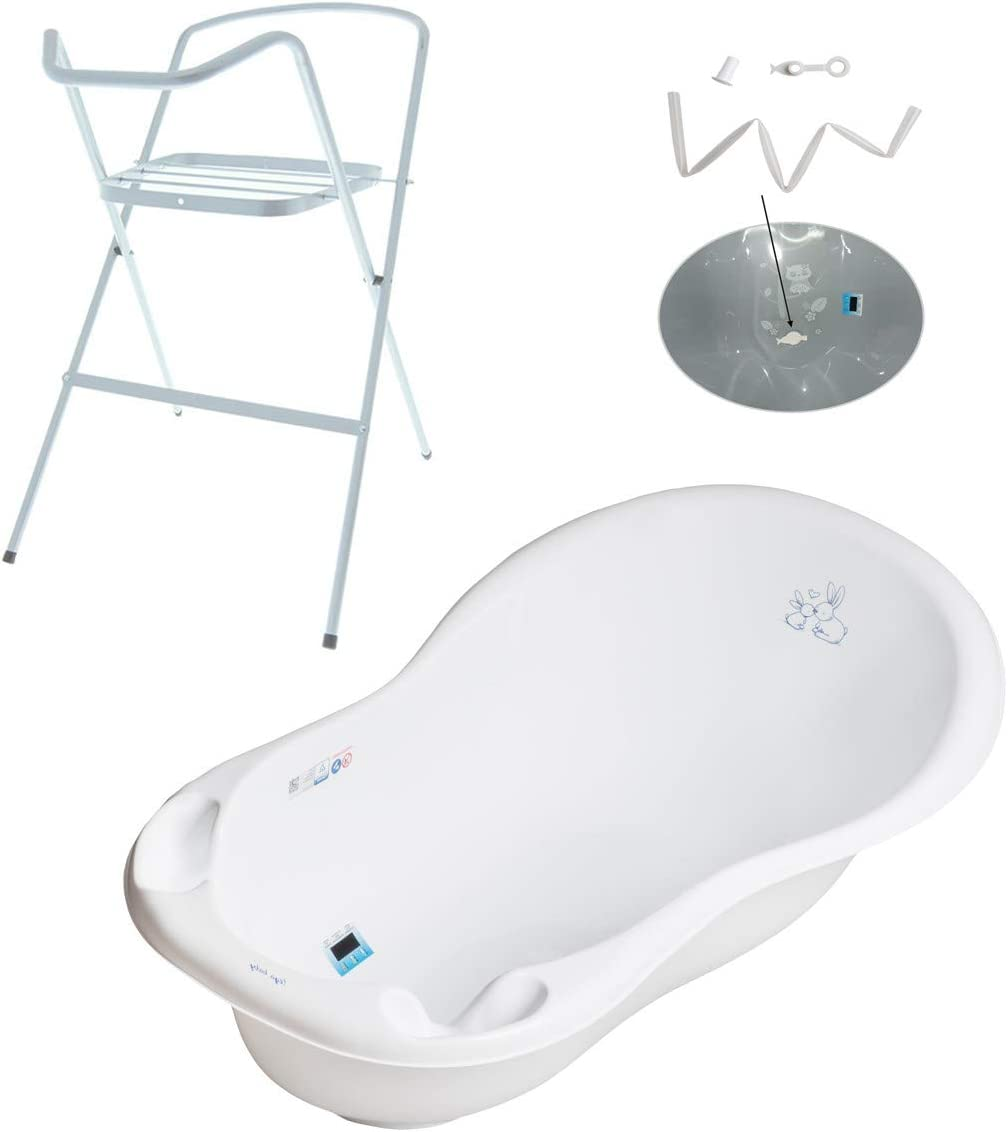 thermomether 102 cm Grey OWL collection Large Baby Bath baby Tub Stand