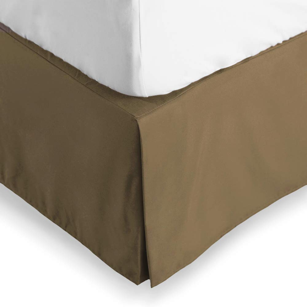 Bare Home Bed Skirt Double Brushed Premium Microfiber, 15-Inch Tailored Drop Pleated Dust Ruffle, 1800 Ultra-Soft, Shrink and Fade Resistant (Twin, Taupe)