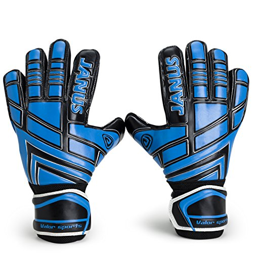 Youth&Adult Goalie Goalkeeper Gloves,Strong Grip for The Toughest Saves, With Finger Spines to Give Splendid Protection to Prevent Injuries (BlackBlue, 7)
