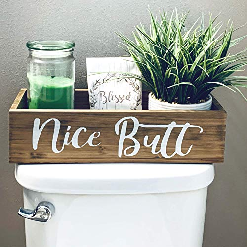 Bathroom Decor Box – Nice Butt – Toilet Paper Holder – Rustic Farmhouse Home Decor – Funny Country Wooden Bathroom…