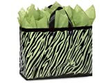 Pack Of 250, Vogue Size 16X6X12'' Zebra Frosted Plastic 3 Mil Shopping Bags