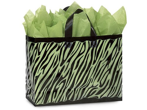Pack Of 250, Vogue Size 16X6X12'' Zebra Frosted Plastic 3 Mil Shopping Bags by Generic