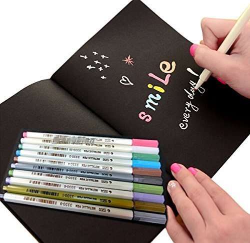 JOYRICE 1 Black Graffiti Book Sketchbook 10.03'' x 7.28'' + 10 Color Metallic Marker Pens For DIY Photo Album,Graffiti ,Artist Drawing Or Any Surface-paper,glass,plastic,pottery DIY ,Wedding Craft
