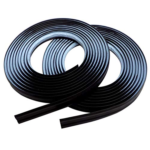 InstaTrim IT05INBLK InstaTrim-1/2 inch Flexible, Self-adhesive, Caulk and Trim Strips for Floors, Ceilings, Countertops and More and More, 1/2 in. wide X 10 ft long, Black, 2 Pack (Black Plastic Trim)