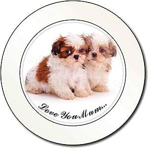Dos Shih - Tzu 'Love You Mum' Impuesto de matriculación disco regalo permisionar