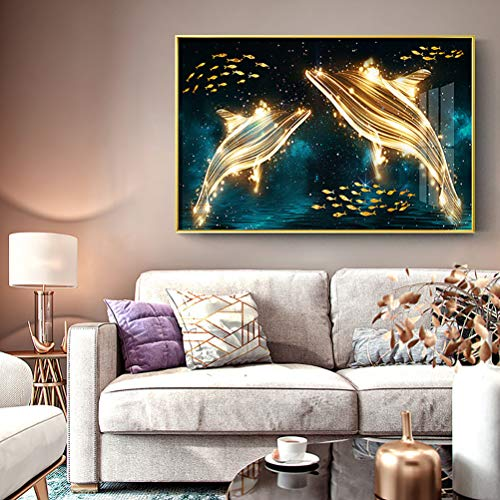 - YAOKI Full Diamond Cross Stitch Living Room Light Luxury Abstract Dolphin Stick Drill Brick Stone Embroidery 70X55CM/27.6X21.7