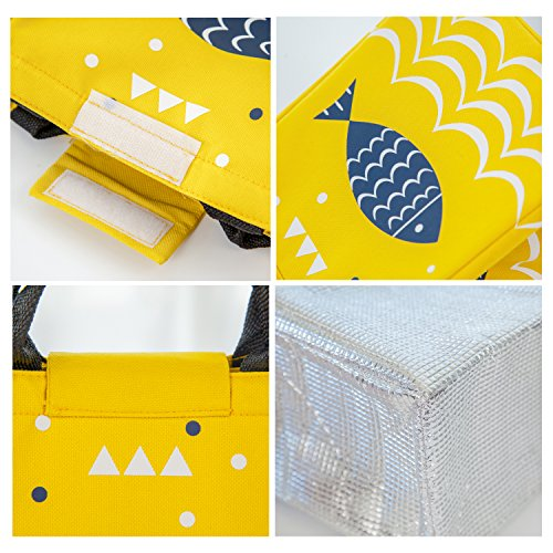 with Lunch Tote Fish Bento Fish Insulation Cooler Insulated Blue Tin Bags Oxford Deep Lunchbox Thermal Artone Soft Yellow Reusable Bag Gourmet wz6d6tq