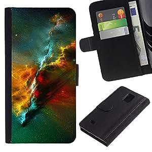 LASTONE PHONE CASE / Lujo Billetera de Cuero Caso del tirón Titular de la tarjeta Flip Carcasa Funda para Samsung Galaxy Note 4 SM-N910 / Nebula Universe Space Science