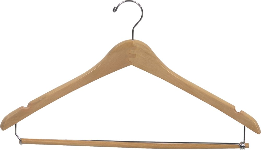 The Great American Hanger Company Curved Wood Suit Hanger w Locking Bar, Box of 100 17 Inch Hangers w Natural Finish & Chrome Swivel Hook & Notches for Shirt Dress or Pants