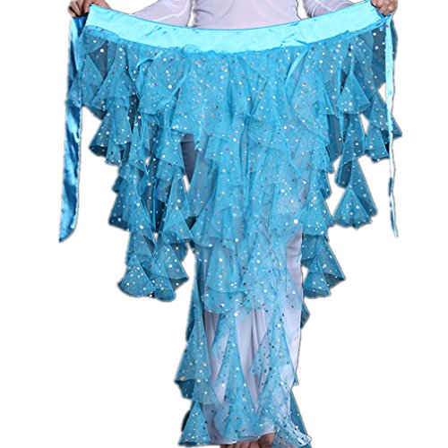 Indian Dance Team Costumes (2018 Sexy Foxtails Triangle Chiffon Sequins Belly Dance Hip Scarf Net Skirt Pole Dance Costumes(Lake Blue))