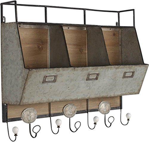 Farmhouse Wood Metal Wall Storage Unit Hooks Decorative Shelves Organizer by RX-789