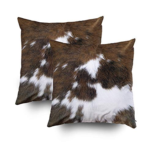 TOMWISH 2 Packs Hidden Zippered Pillowcase Christmas Cowhide Accent 18X18Inch,Decorative Throw Custom Cotton Pillow Case Cushion Cover for - Cowhide Rodeo Western