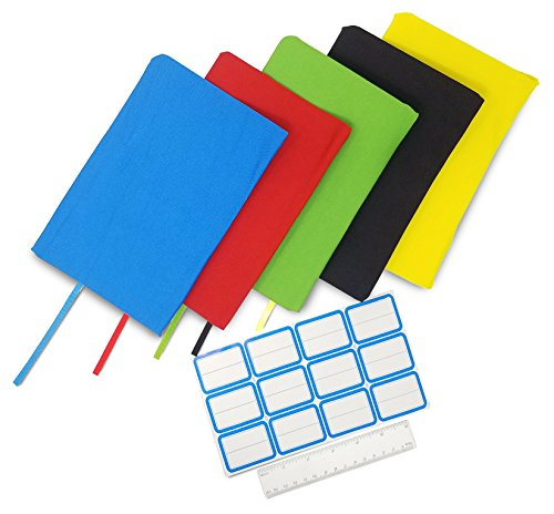 "ColorCover 5 Pack Book Covers Fits Up To 9""x11"" Size TextBooks Perfectly Stretchable Washable Practical Reusable No-Slip Quality Red Blue Green Yellow Black 12 Stick-On Labels and Ruler Included"