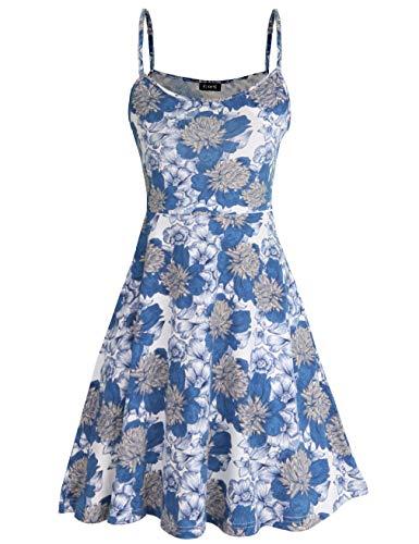 (FINMYE Skater Dresses for Women, Boho Clothing Aline White Dress for Juniors Spaghetti Strap Dresses (X-Large, White)