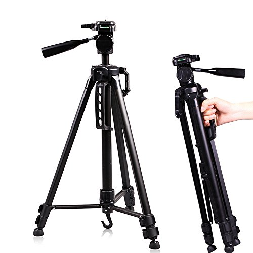 Professional Adjustable Video Camera Stand - 60 Inches Retractable Aluminum Alloy Portable Travel Tripods with Carry Bag for SLR DSLR Camcorder Camera Video by Konseen