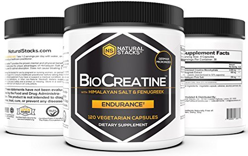 Natural Stacks BioCreatine - Creatine Supplement - 120 Vegetarian Capsules - Optimal Absorption - Improve Cognitive Function - Neuroprotection